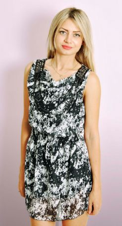 Printed Dress with Chain Detail